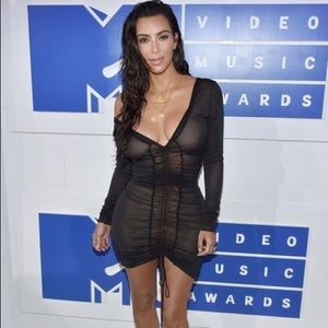 Kim Kardashian Black See Through Butterfly Dress